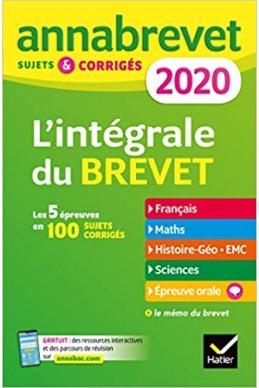 Annales du brevet Annabrevet 2020 L'intégrale 3e